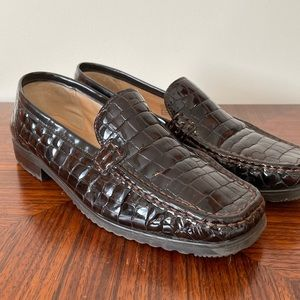 Ara Brown Croc Patent Leather Loafers US 10 UK 7.5
